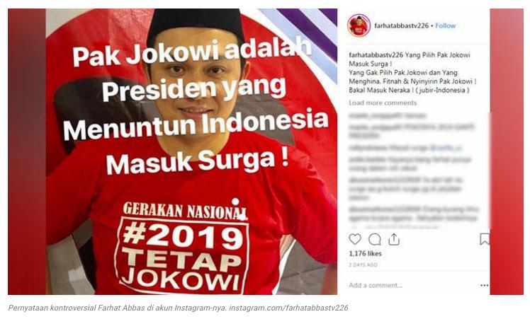 Tulis 'Pilih Pak Jokowi Masuk Surga', Farhat Abbas ditegur tim kampanye