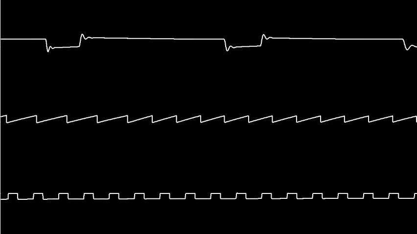 Indahnya waveform music game chiptune dilihat dalam bentuk Oscilloscope view