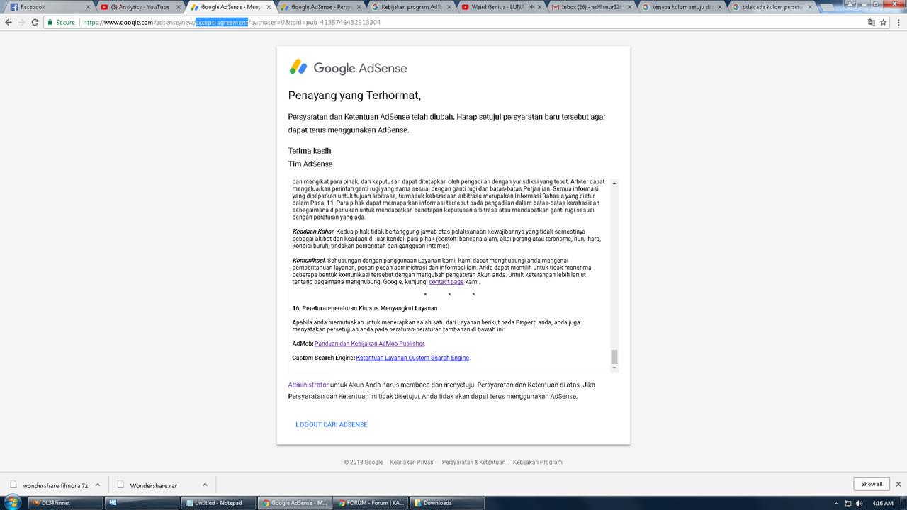 Kolom untuk di setujui ketika kita membaca peraturan saat mendaftar google adsense