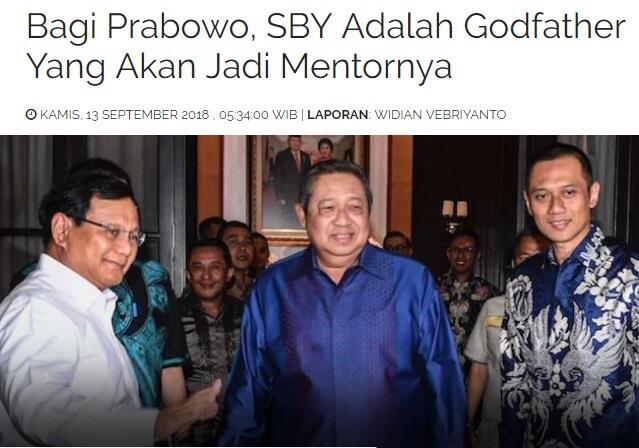 Bagi Prabowo, SBY Adalah Godfather Yang Akan Jadi Mentornya .