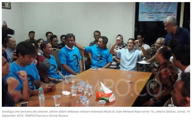 Eks Kelompok Relawan Jokowi Deklarasi Dukung Prabowo - Sandiaga