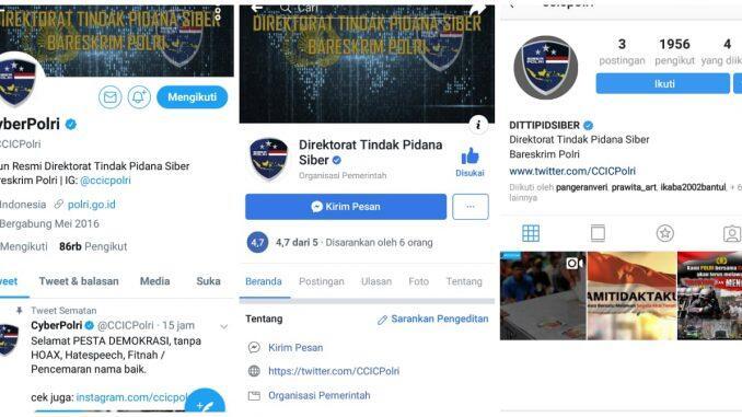 Siber Bareskrim Polri Punya Akun Resmi Twitter, Facebook dan Instagram
