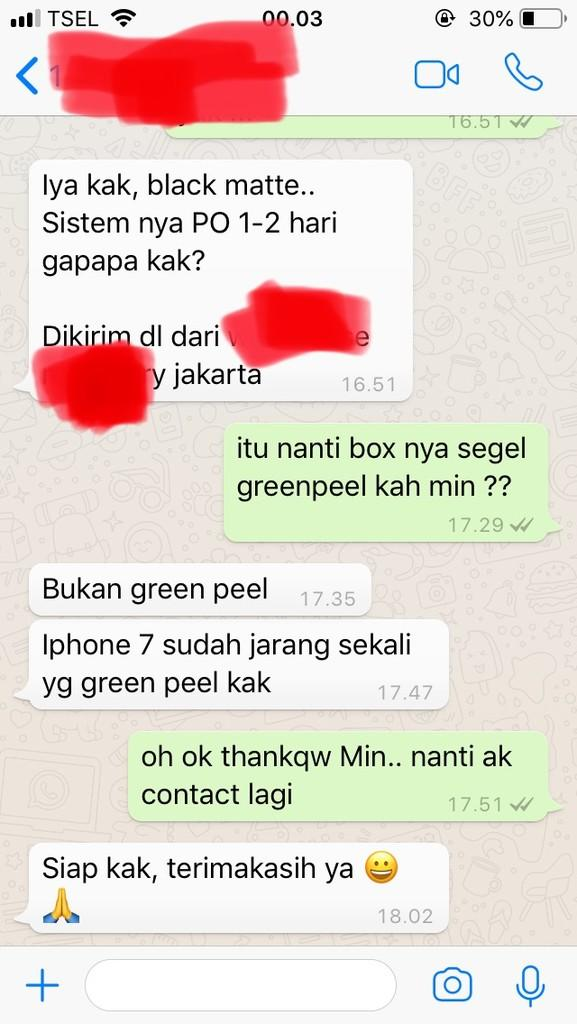 iphone 7 stok lama gak (ori & non active) minus green peel ?