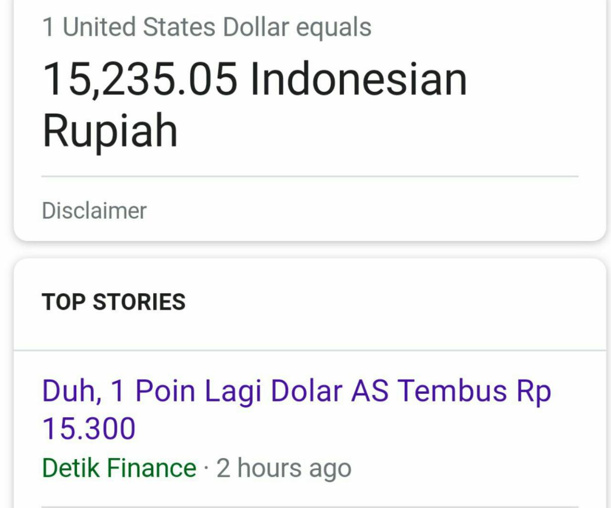 Duh, 1 Poin Lagi Dolar AS Tembus Rp 15.300