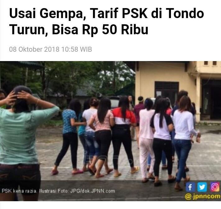 Usai Gempa, Tarif PSK di Tondo Turun, Bisa Rp 50 Ribu