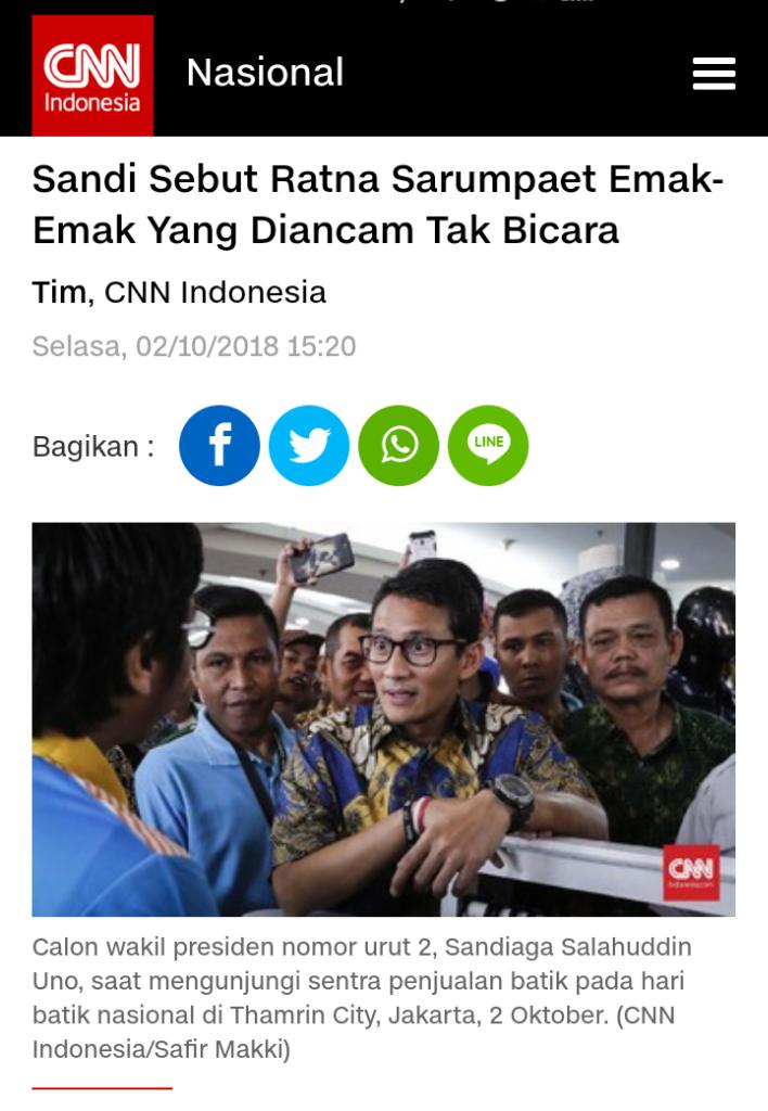 Sandiaga Uno Puji Atiqah Hasiholan Mau Jaminkan Diri buat Ratna