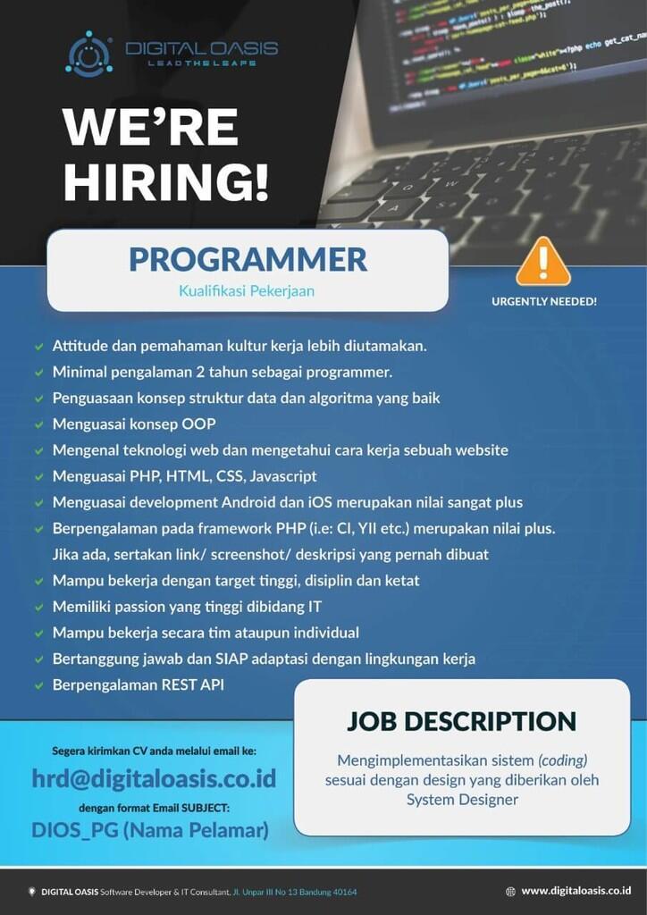 [TOP URGENT] Lowongan Kerja Web Developer (Bandung)
