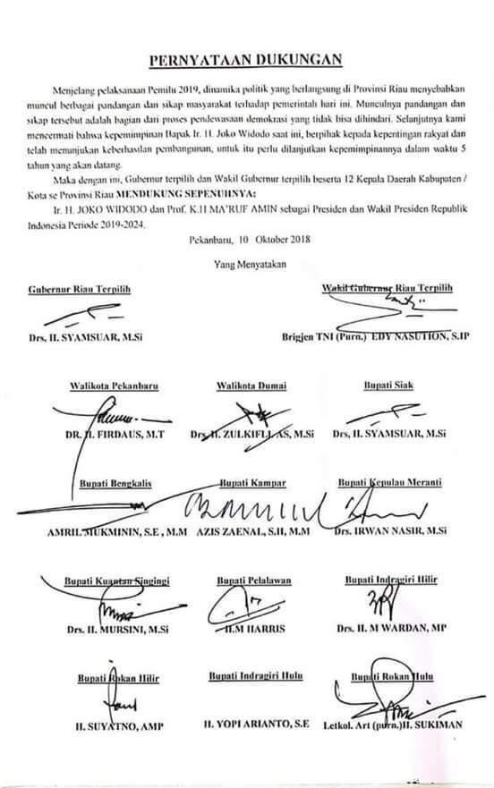 Semua Kepala Daerah Riau Dukung Jokowi, Projo Beri Apresiasi