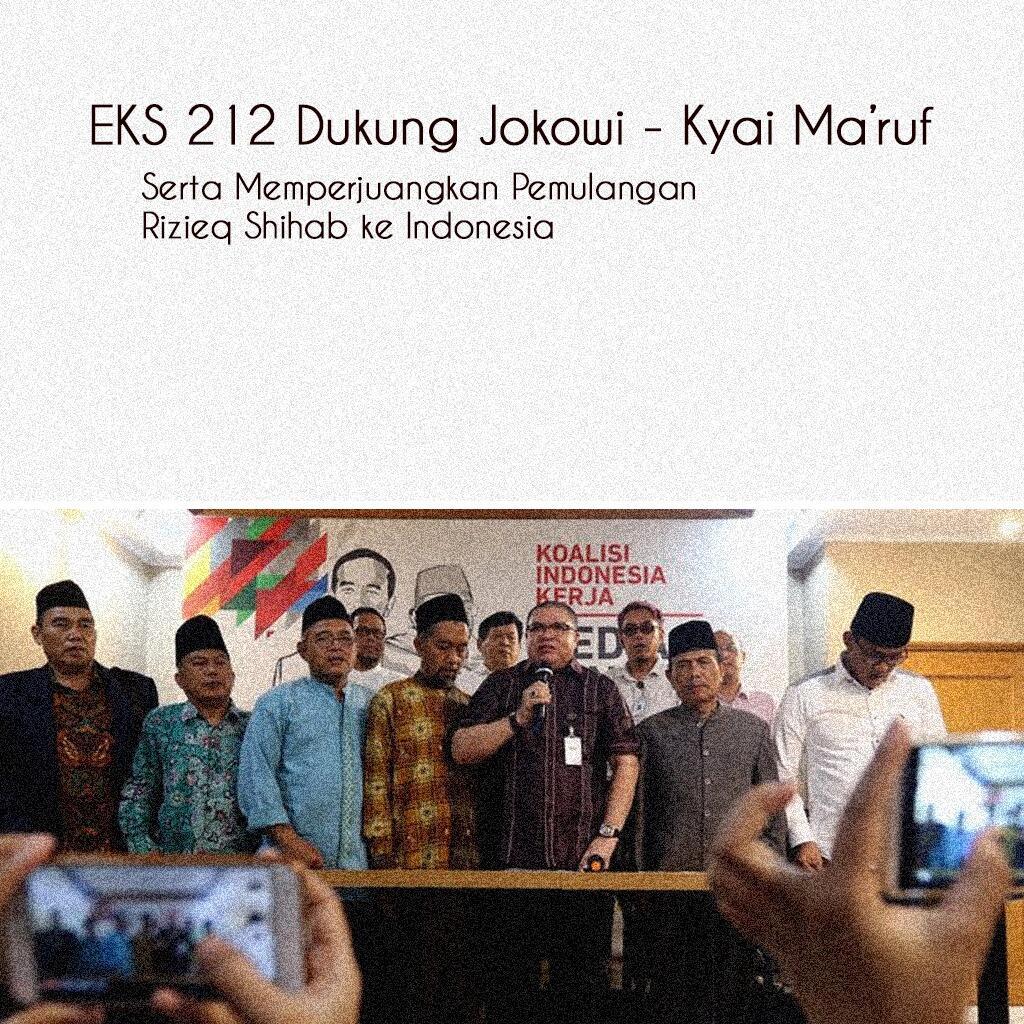 Eks 212 deklarasi dukung Jokowi-Ma'ruf, minta pulangkan Rizieq dengan aman