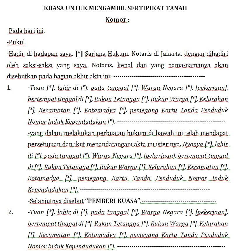 Contoh Draft Akta Notaris