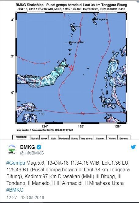 Sabtu, 13/10/2018,11:34 WIB: Gempa 5,6 SR Guncang Bitung, Manado dan Minahasa Utara
