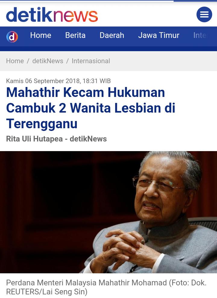 Mahathir Tegaskan Malaysia Menolak LGBT