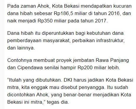 Final, Bekasi Minta Hibah dari DKI Total Rp 926 Miliar