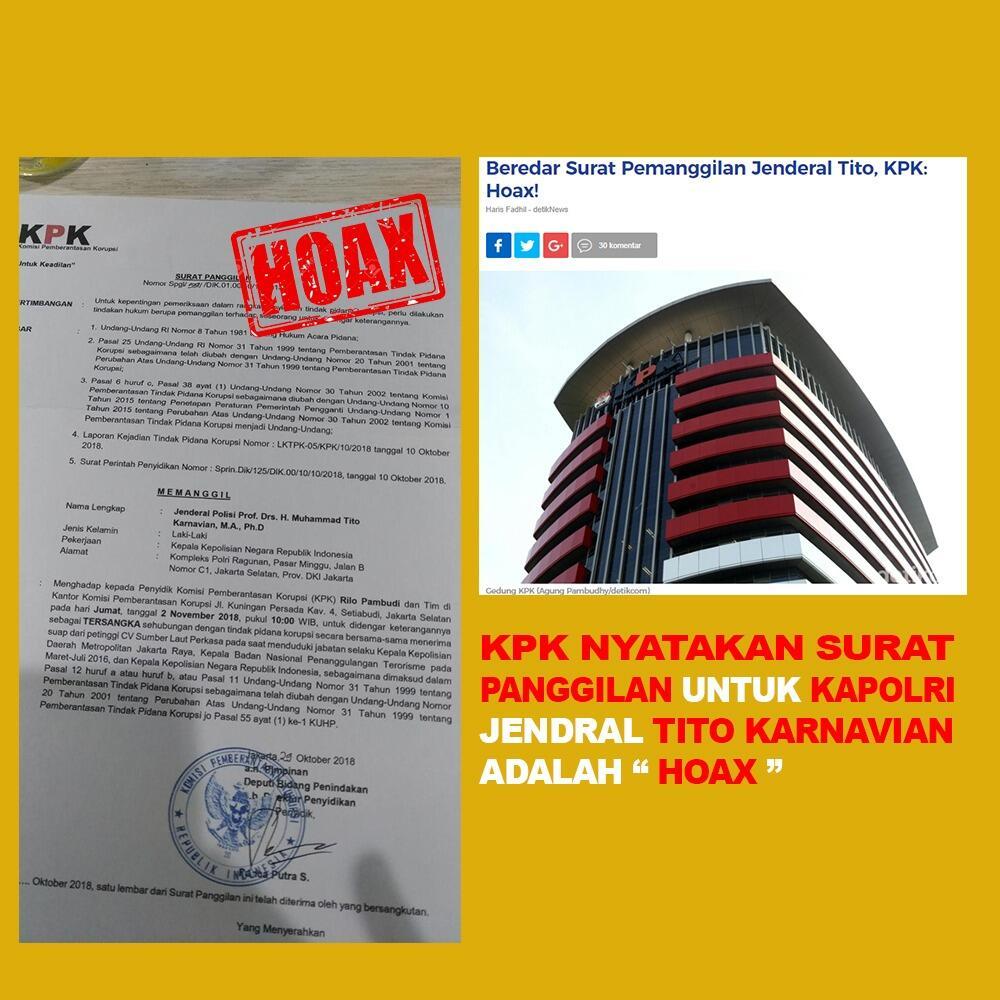 KPK Nyatakan Surat Panggilan Untuk Kaporli Jendral Tito Karnavian Adalah HOAX