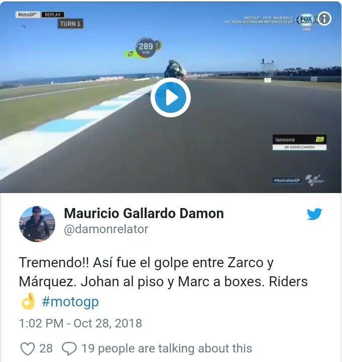 Video Detik-detik Kecelakaan Parah MotoGP, Motor Zarco Terbang