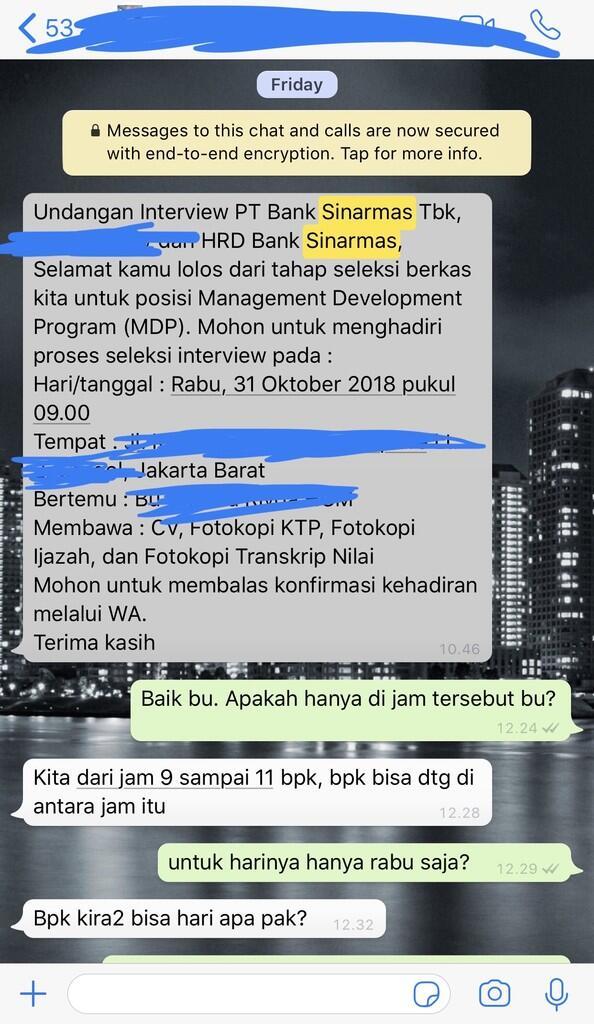 MDP Bank Sinarmas 2017