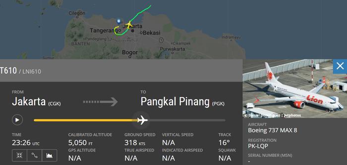 Jejak Lion Air JT 610 di Flightradar