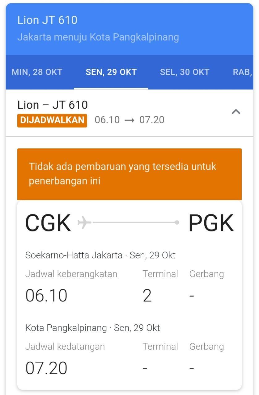 Sempat Lost Contact, Pesawat JT 610 Rute Jakarta-Pangkalpinang Jatuh
