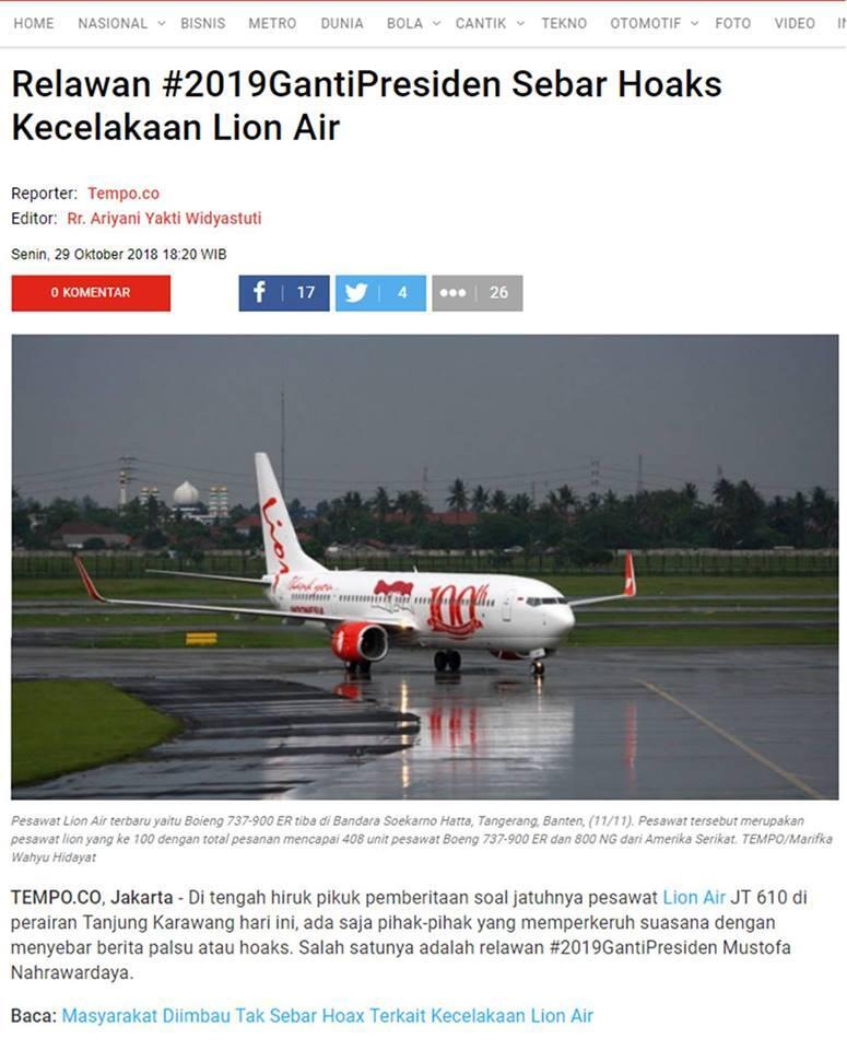 Sebar Hoaks Lion Air, Kominfo Anggap Polisi Perlu Tindak Akun @AkunTofa