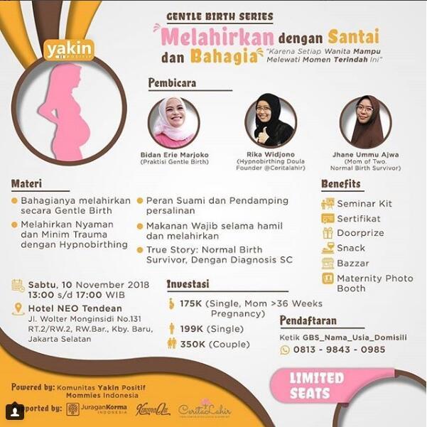 Seminar Gentle Birth untuk Para Ibu Hamil - Jakarta 10 November 2018
