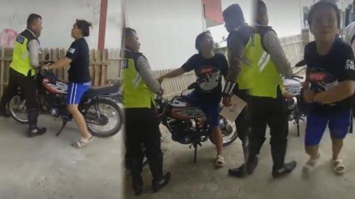EMAK2 DILAWAN, Tak Terima Ditilang Pengendara RX King Ngamuk, Tampar & Lempar Polisi