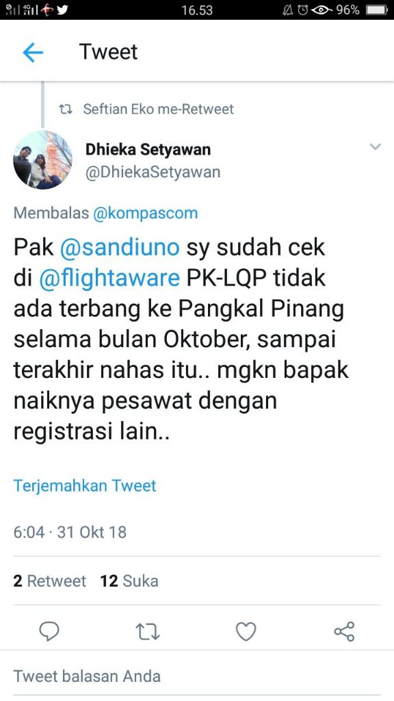 Sandiaga Shock, Dua Pekan Lalu ke Pangkalpinang Naik Lion Air
