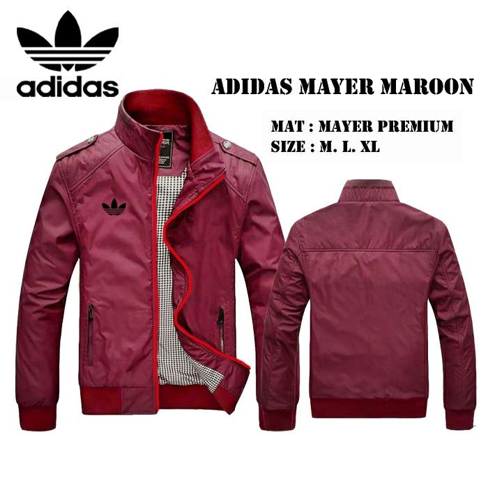 Jaket Adidas bahan Mayer Hoodie (Bisa Lepas Pasang) warna Hitam