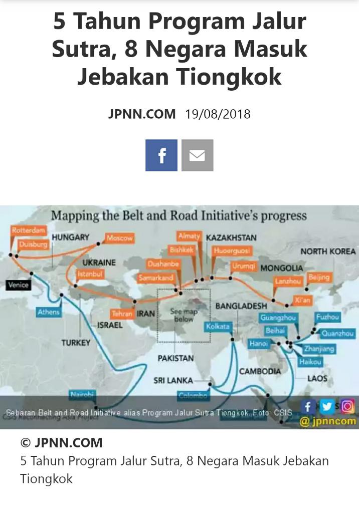 5 tahun program jalur sutera, 8 negara masuk jebakan Tiongkok