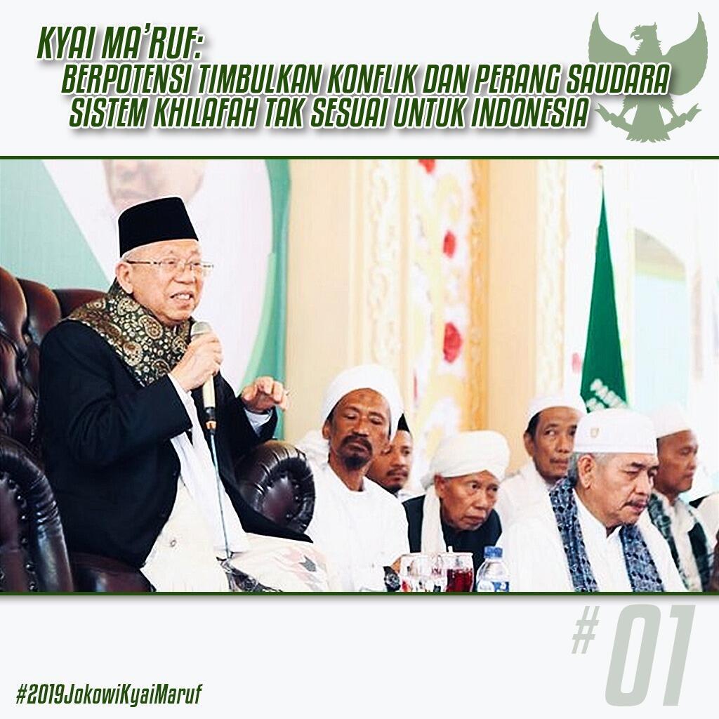 Ma'ruf Amin Nilai Khilafah Tak Cocok di Indonesia, Ini Alasannya