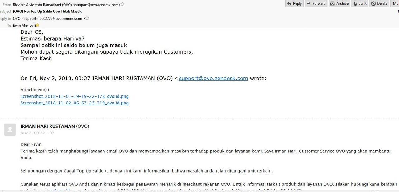 TOP UP OVO Rp.500rb Tidak masuk, Saldo Rekening Terdebet