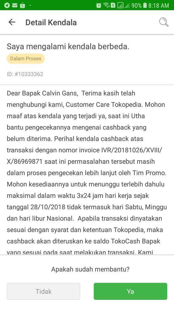 Cashback Pembayaran Kredivo di Tokopedia Tidak Diterima