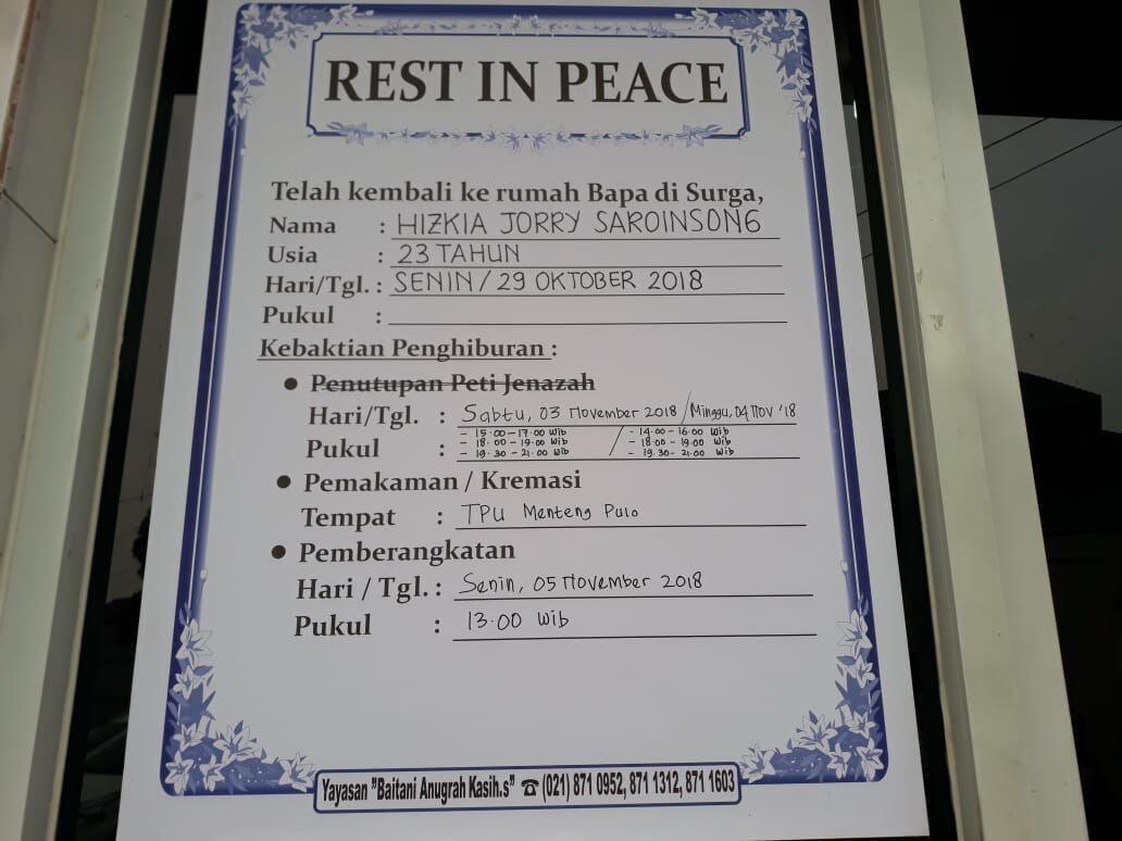 Jadi Korban Lion Air JT 610, Jorry Sempat Makan Bersama Ayahnya