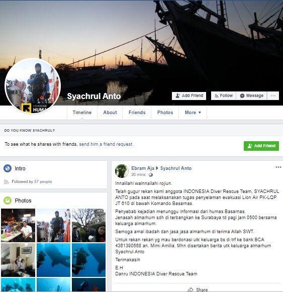 Sosok Penyelam yang Gugur Saat Evakuasi Lion Air di Mata Ketuanya