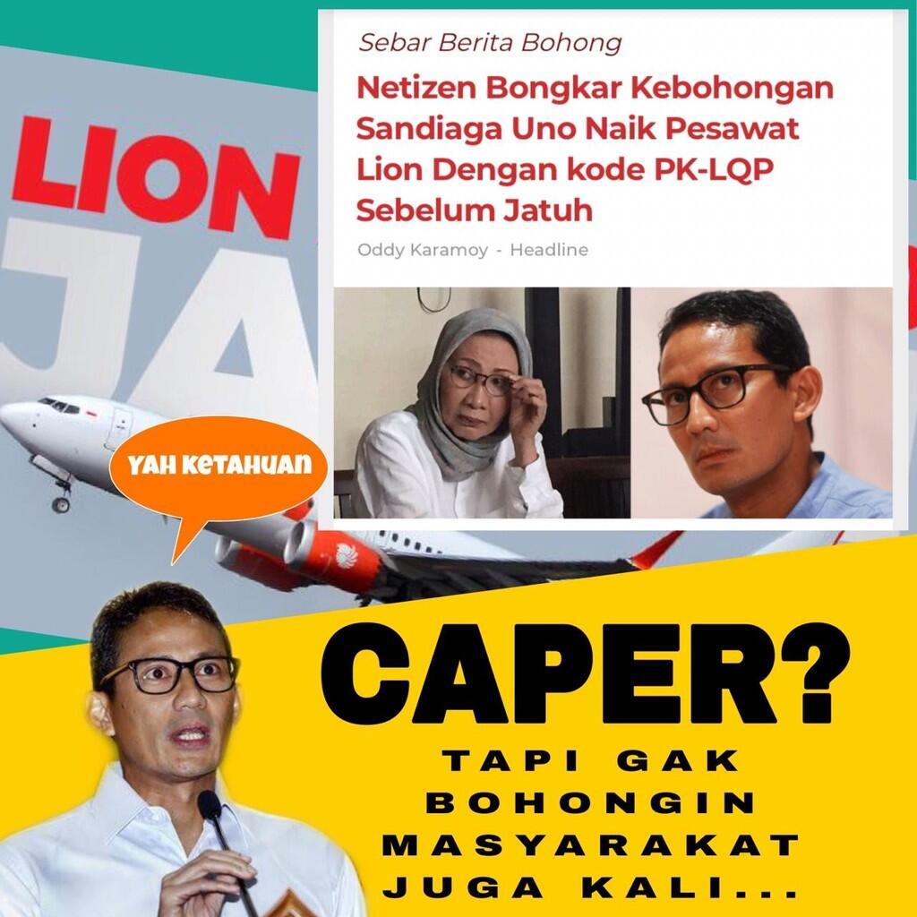Cawapres Sandiaga Uno Manfaatkan Hoax Jatuhnya Lion Air JT 610 untuk Tuai Popularitas