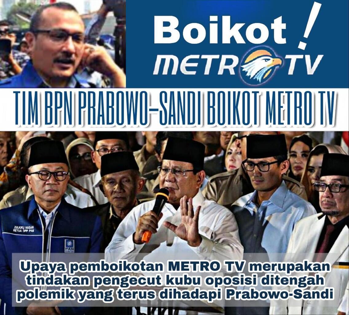 Boikot Metro TV, BPN Prabowo-Sandi Blunder Besar