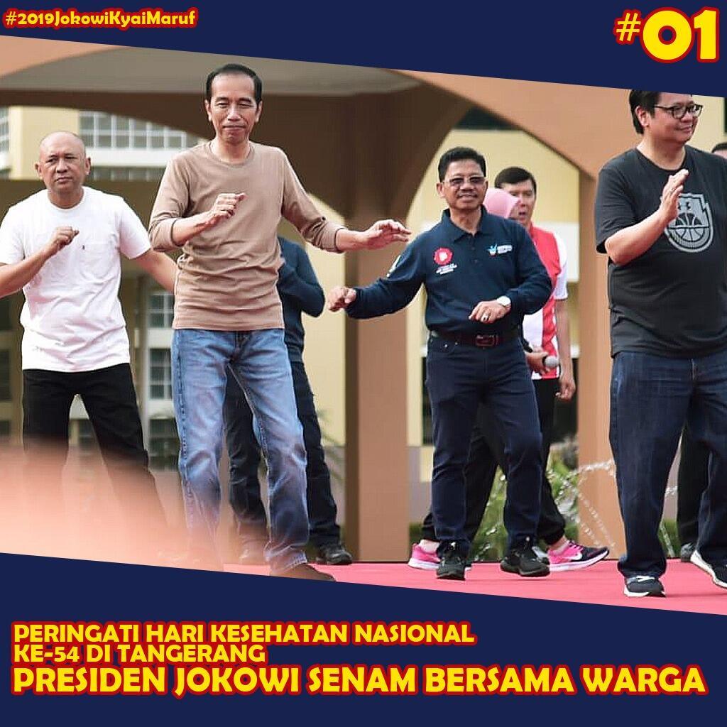 Senam Bersama di Tangerang, Jokowi Jadi Incaran Foto 'Emak-emak'