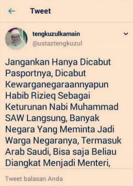 Rizieq Shihab diberitakan ditangkap di Arab Saudi, diplomat Indonesia lakukan 'pengec