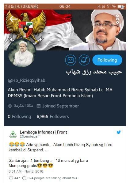 Akun Twitter Habib Rizieq Diblokir