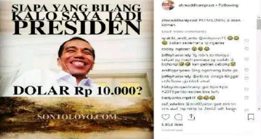 Pasang Meme Jokowi Ini, Ahmad Dhani: PKI Milenial Silakan Komen