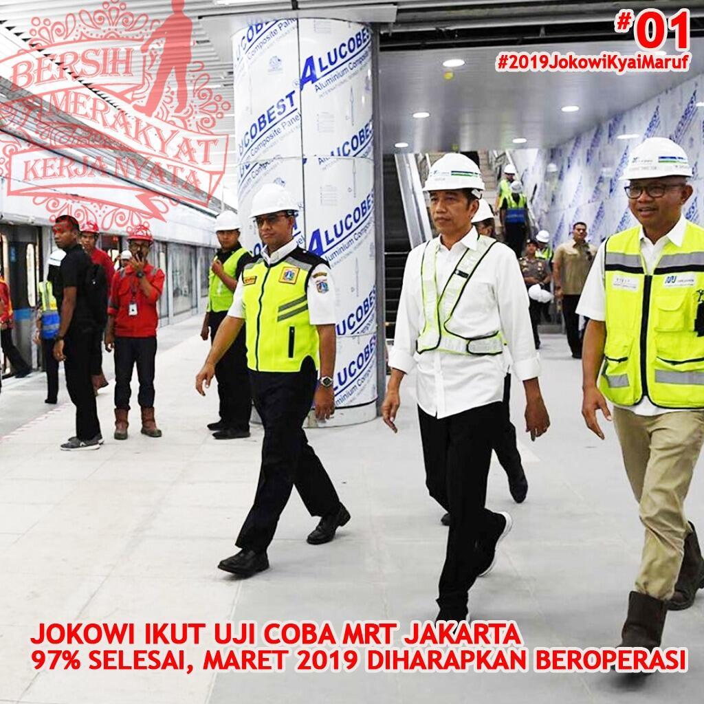 Pertama Kali Naik MRT Jakarta, Jokowi: Tidak Bising dan Bagus