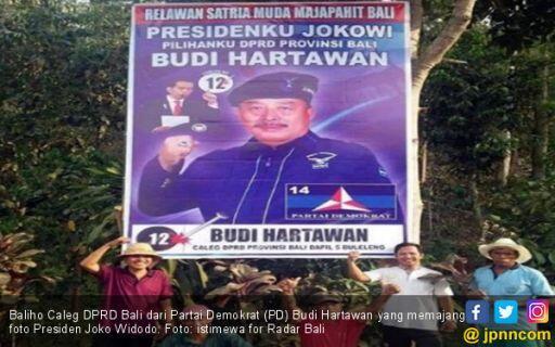 Caleg Partai Pak SBY Pajang Baliho Bergambar Presiden Jokowi