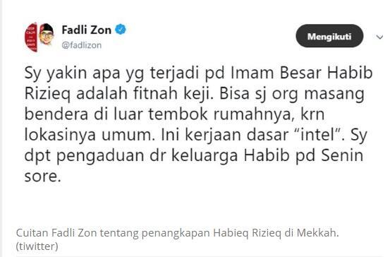 FadliZon Sebut Bendera diRumah Rizieq adalah Kerjaan Intelijen, Yunarko:DramaTerzolim