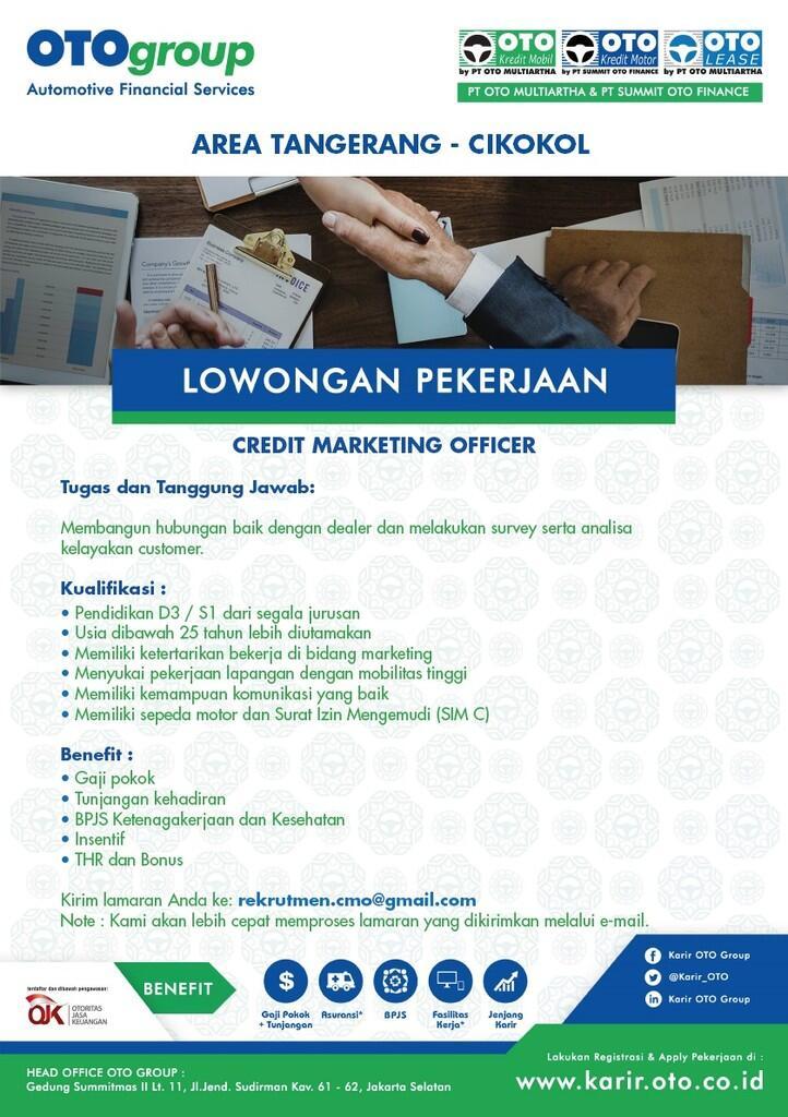 Lowongan Kerja Credit Marketing Officer area Cikokol - Tangerang