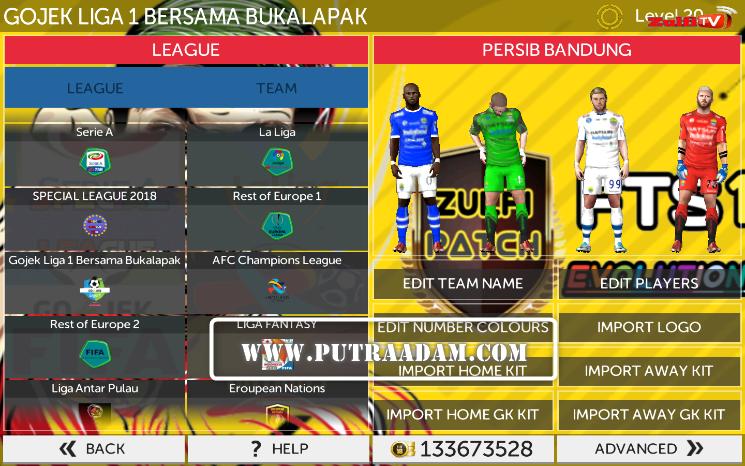 Keren !! FTS Mod PES 2018 Liga 1 Gojek Bukalapak