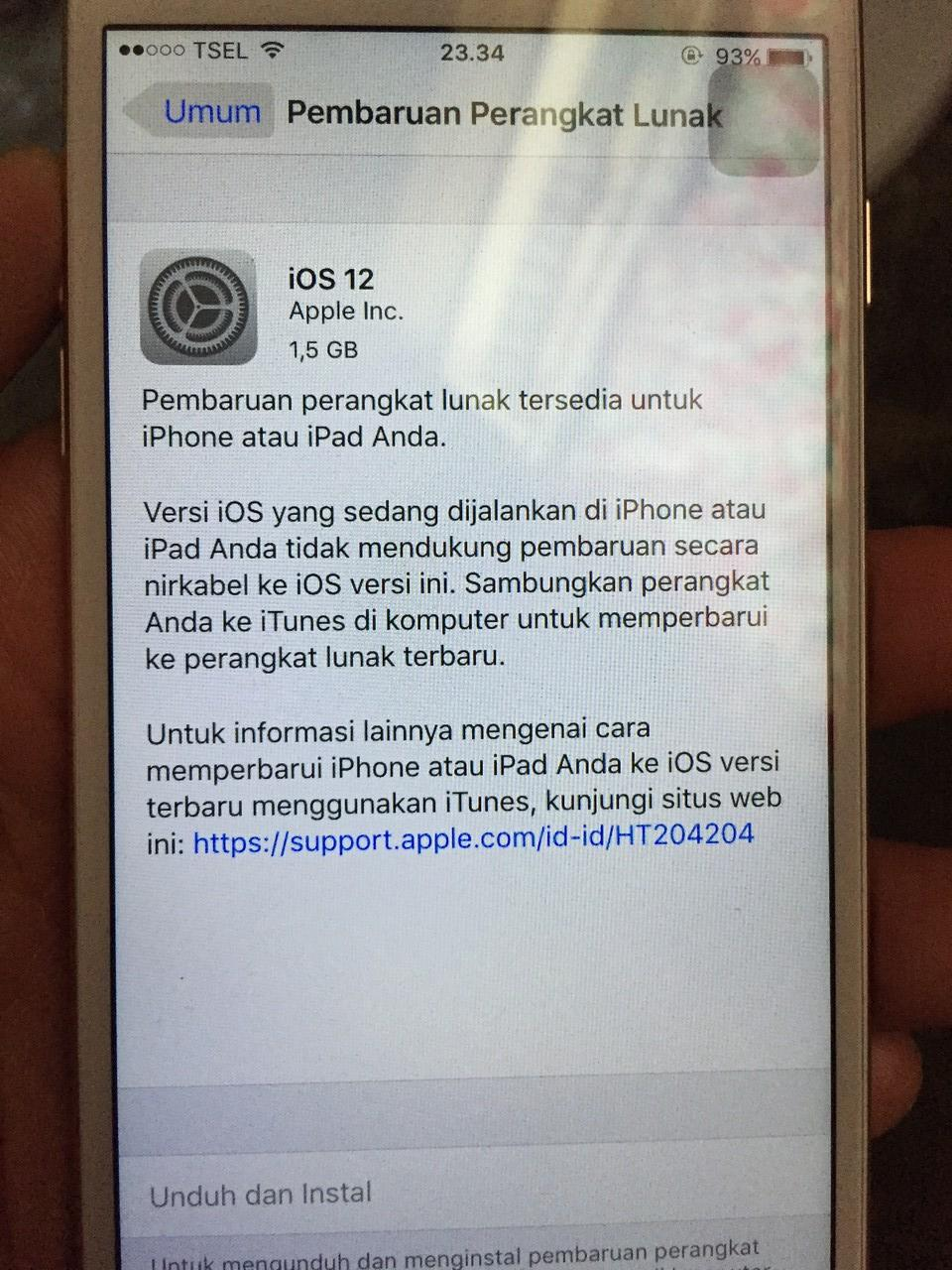Gak bisa update & instal iOS dari 9.3.4 ke 12.1