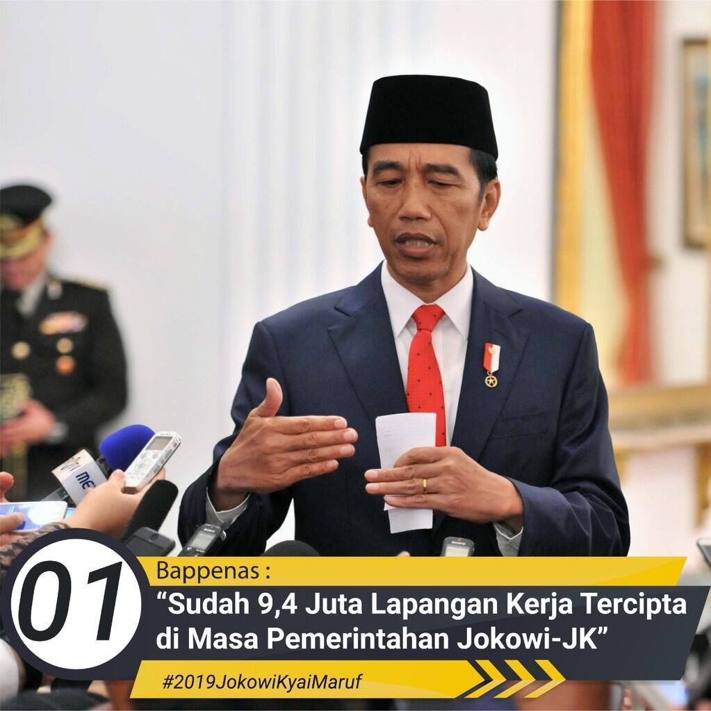 4 Tahun Jokowi-JK, 9,38 Juta Lapangan Kerja Tercipta