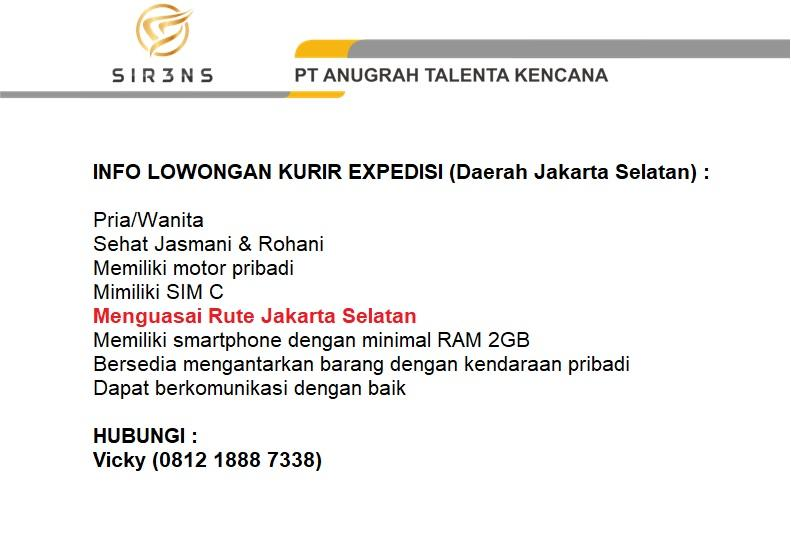 Loker : KURIR EXPEDISI Jakarta Selatan