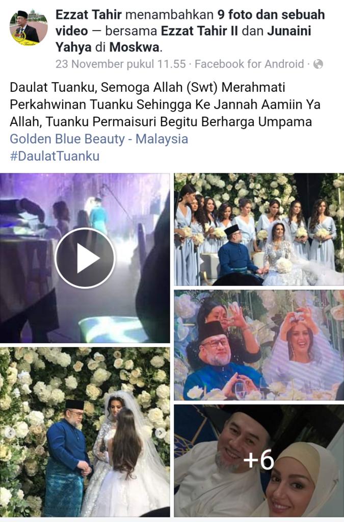 Viral Pernikahan Raja Malaysia dengan Ratu Kecantikan Rusia