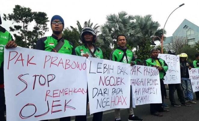 Tukang Ojek di Jawa Timur Ramai-ramai Demo Prabowo