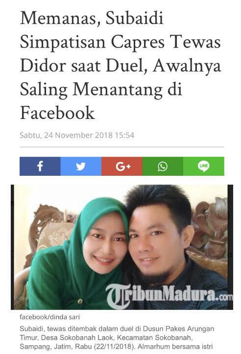 Memanas, Subaidi Simpatisan Capres Tewas Didor saat Duel, Awalnya Slg Menantang di FB